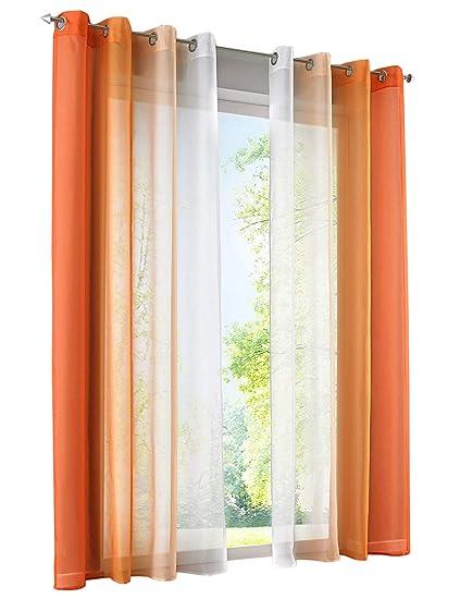 BAILEY JO 2Pcs Rideau Voilage LxH/140x225cm Dégradé de Couleur Orange  Rideaux à Oeillet Décoration de Fenêtre Chambre/Salon / Balcon