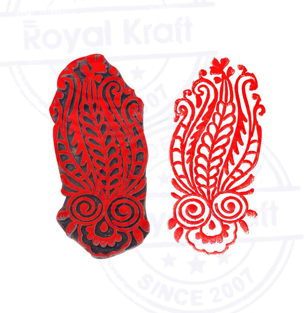 DIY Henna Fabric Textile Paper Clay Pottery Block Printing Stamp Ethnic Creative Paisley Design Wood Stamp for Printing
