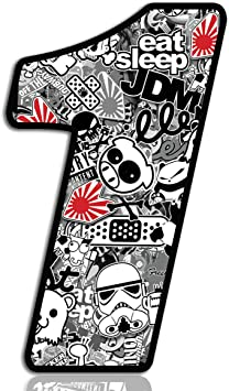 Biomar Labs Startnummer Nummern Auto Moto Vinyl Aufkleber Sticker Bomb Stickerbomb Weiß Motorrad Motocross Motorsport Racing Nummer Tuning 1 N 341 Auto
