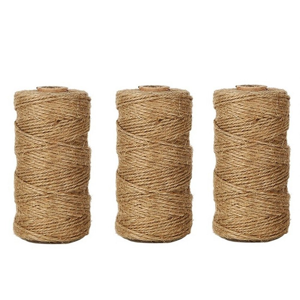 LaZimnInc Natural Jute Twine 3 Ply, Best Arts Crafts Gift Twine, Christmas Twine Industrial Packing Materials Durable String for Gardening Applications (3 Pcs x 300 Feet)