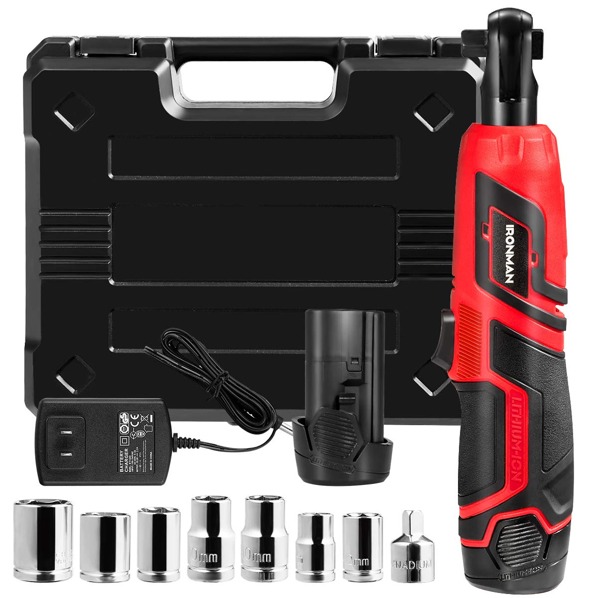 Goplus Cordless 3/8'' Electric Ratchet Wrench Set, with Double 12V Lithium-Ion Battery, Carrying Case, Wrench Torque Tool w/ 1-piece 1/4'' Socket Adapter and 7-piece 3/8'' Metric Sockets