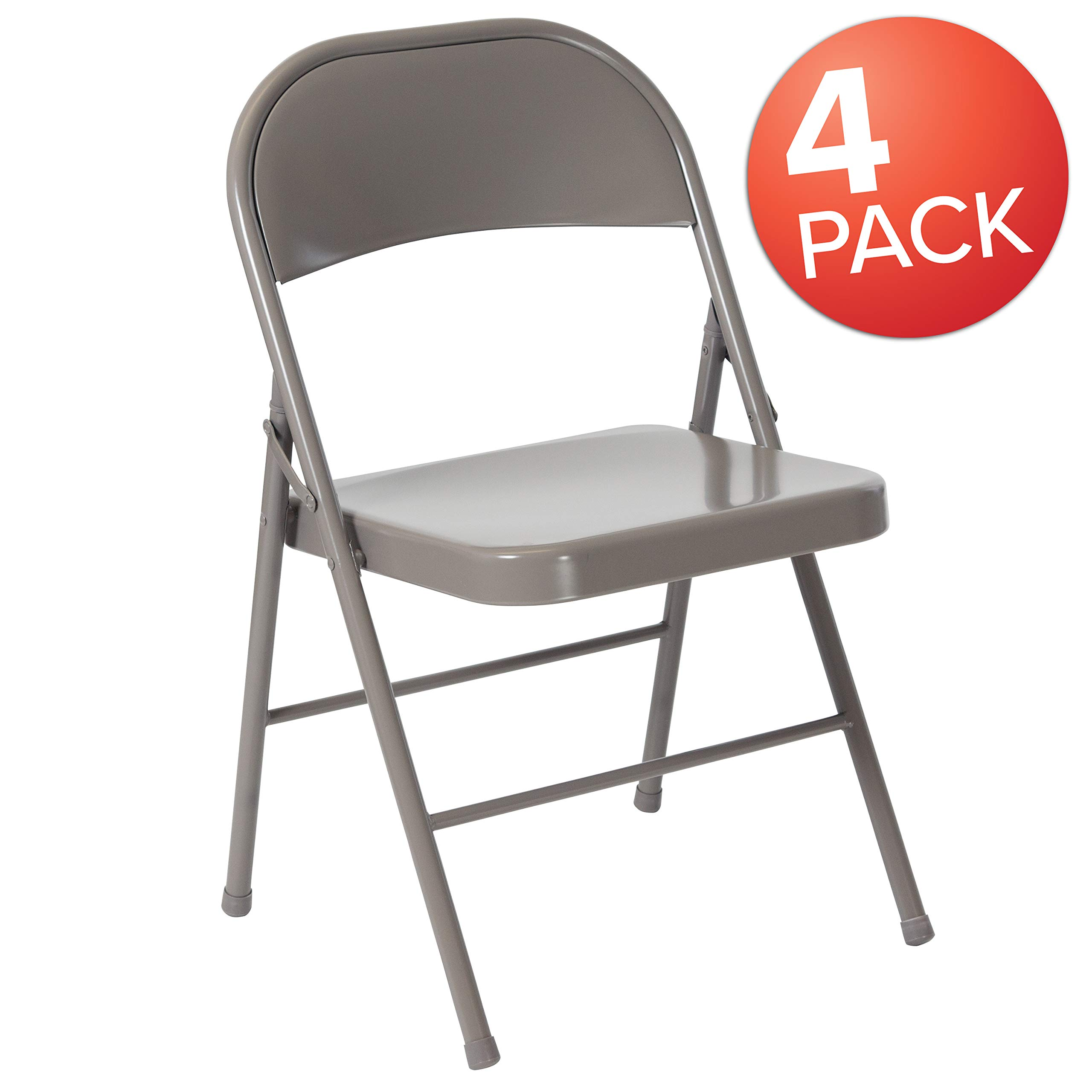 Flash Furniture 4 Pk. HERCULES Series Double Braced Gray Metal Folding Chair - 4-BD-F002-GY-GG by Flash Furniture