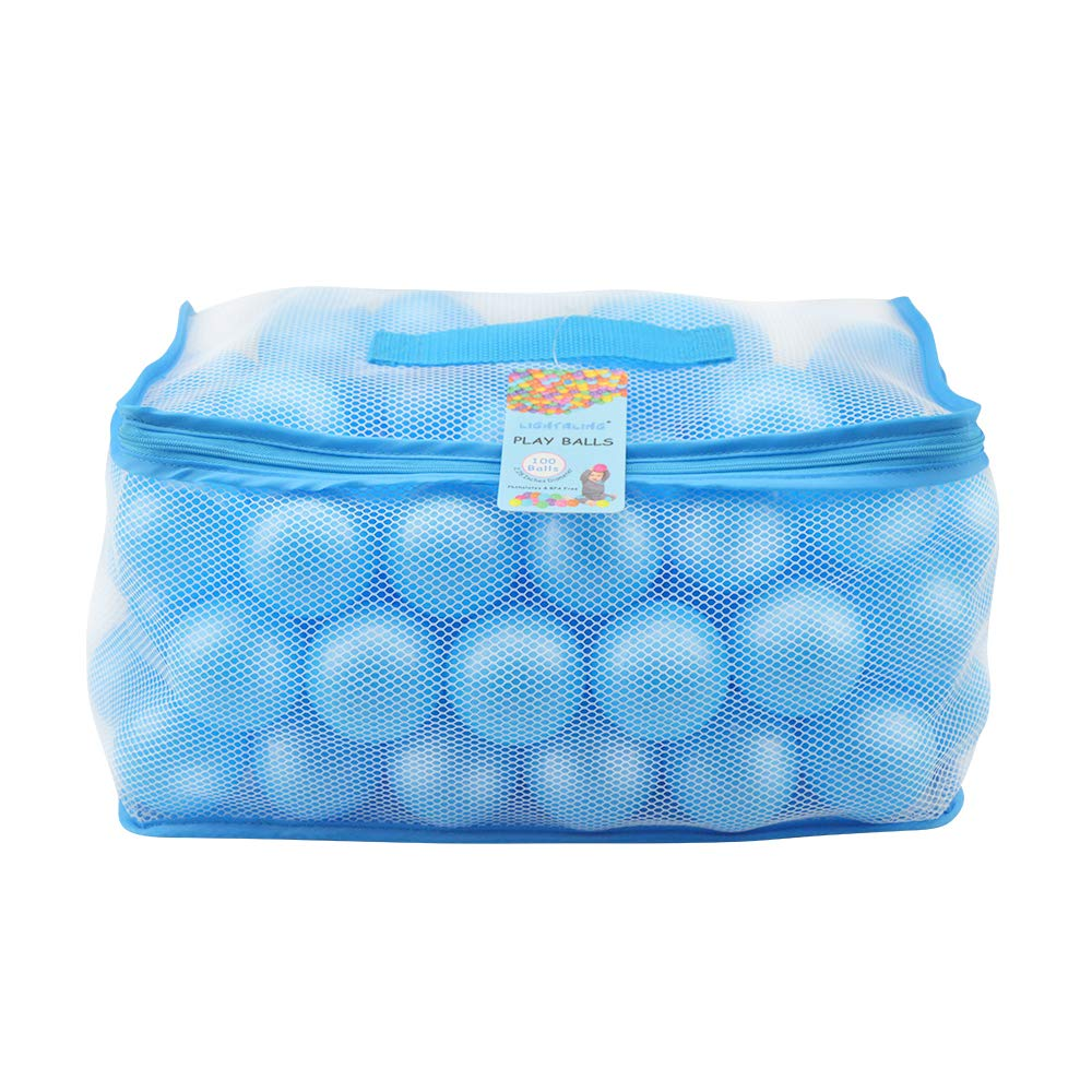 Lightaling 100pcs Blue Ocean Balls & Pit Balls Soft Plastic Phthalate & BPA Free Crush Proof - Reusable and Durable Storage Mesh Bag with Zipper