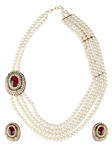68993b478b8e1 Shining Diva Latest Traditional Design Pearl Necklace Jewellery Set for  Women (White) (rr5443s)