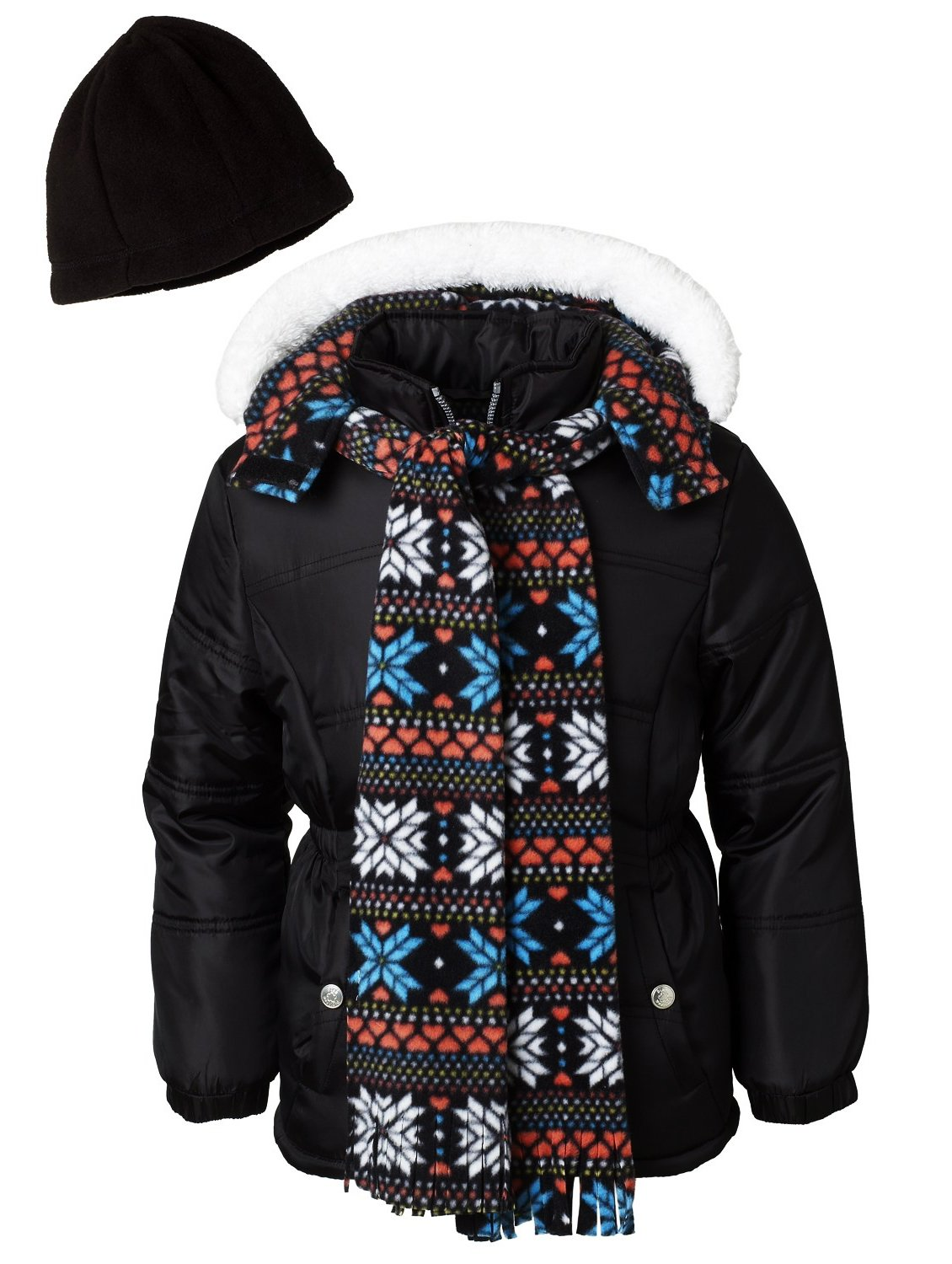 Pink Platinum Little Girls Puffer Jacket Set with Hat & Scarf Snowflake Print, Black, 3T