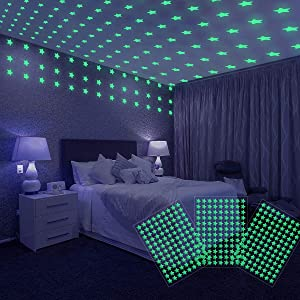 WENCASE 108x3 Glow in The Dark Stars for Ceiling, Room Decor for Teen Girls, Luminous Wall and Ceiling Stickers, Starry Sky Shining 3D Bubble Decoration, Gifts for Kids to Decorate Their Bedroom