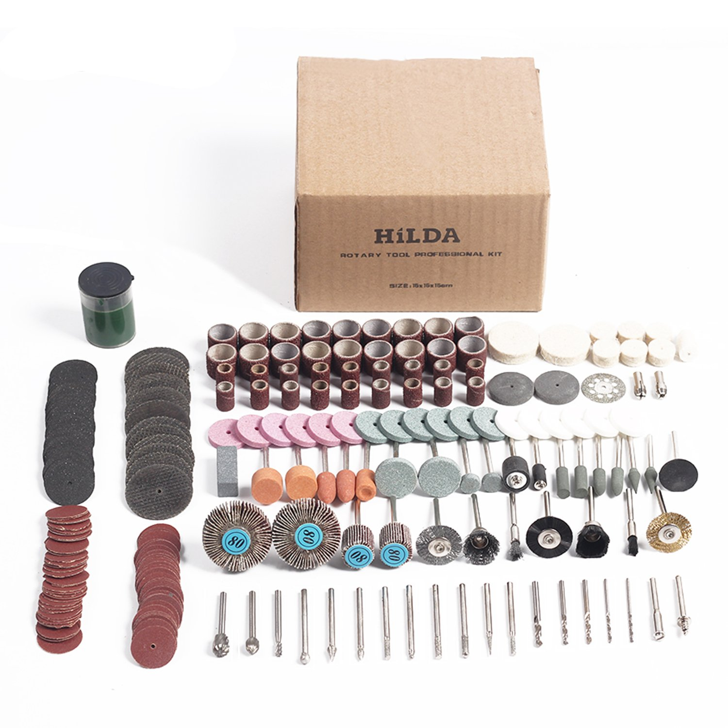 HILDA 248 pcs Rotary Tool Accessories Kit Buffing Wheels Cutting Discs with 1/8 Shank Universal fitment for Polishing Cutting Sanding and Grinding by HILDA (Image #4)
