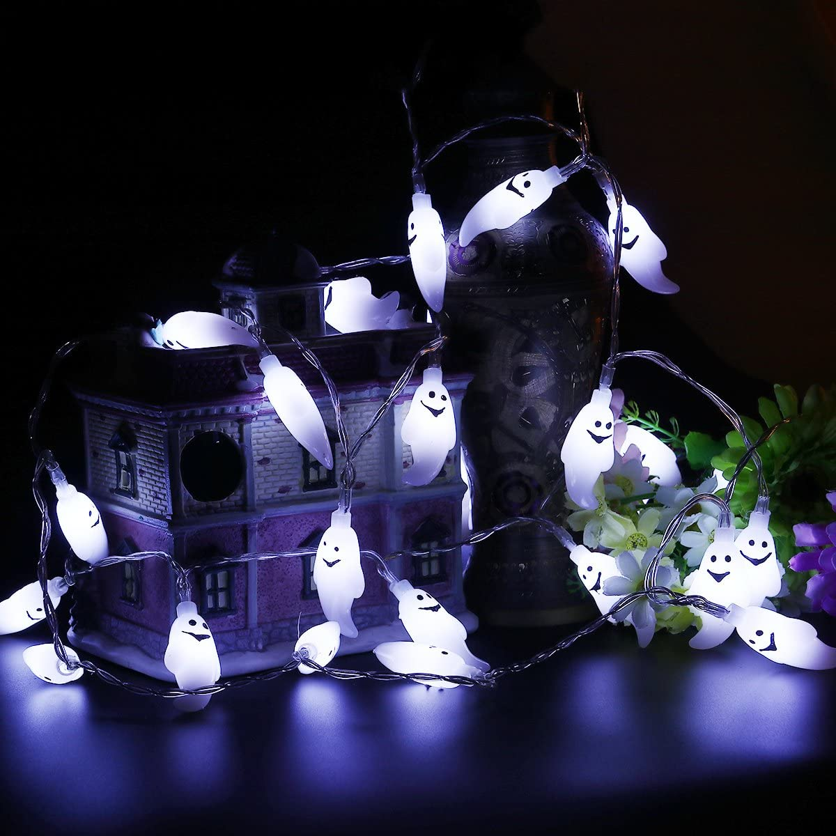 Halloween Ghost String Lights, LED Battery Operated Halloween Lights, String Lights for Halloween Decorations