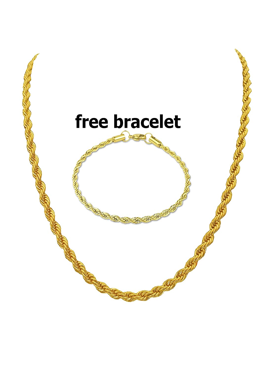 BLING CULTURE Free Bracelet Life Time Warranty 1mm 2mm 3mm 4mm 5mm 7mm Gold Rope Chain Necklace for Men Women
