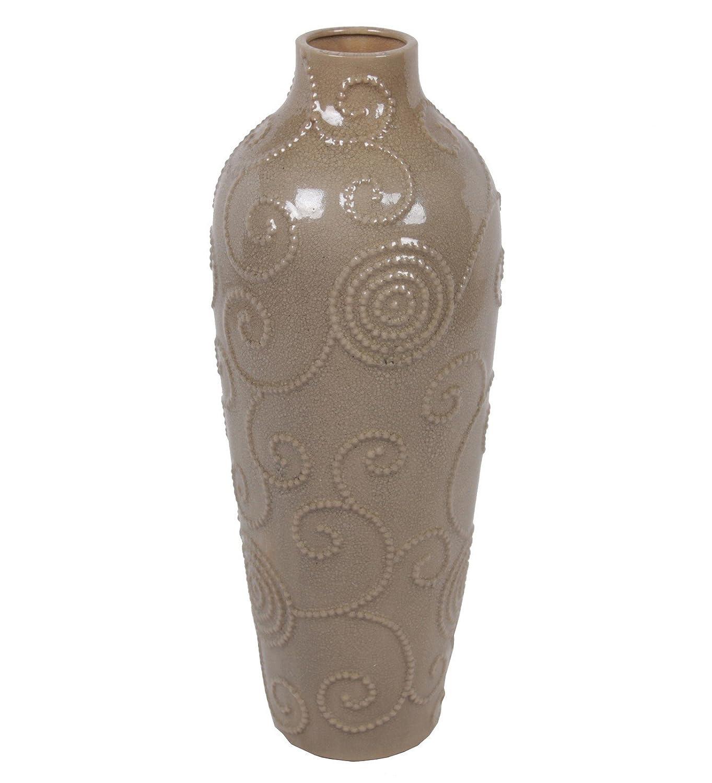 Privilege International 77100 Scroll Ceramic Vase Large