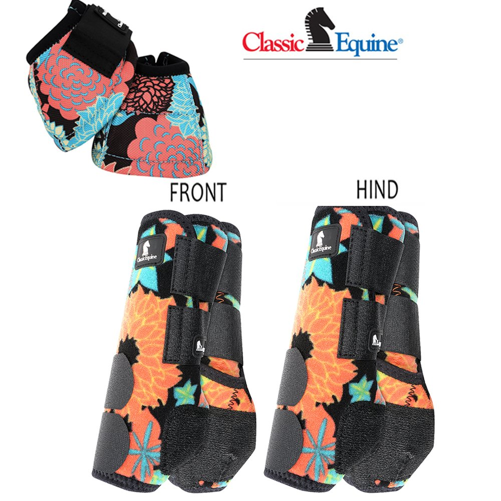 M- CORAL TROPICS CLASSIC EQUINE FRONT REAR LEGACY SPORTS HORSE NO TURN BELL BOOT