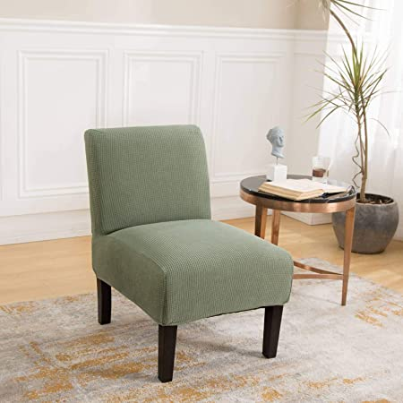 Oraunent Accent Chair Slipcover Armless Chairs Modern Furniture Protector Small Checked Jacquard for Living Room Chairs Sofa Green One Size