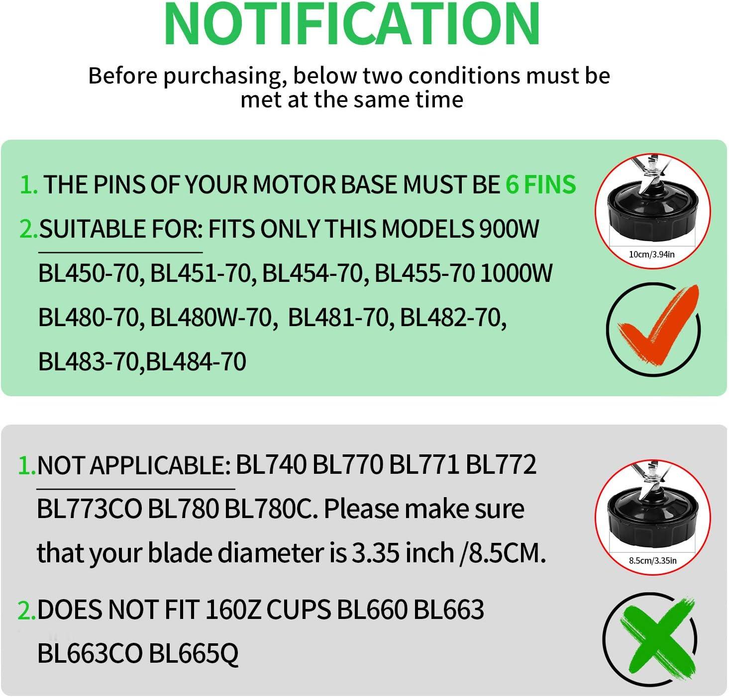 Replacement Parts for Ninja Blender Bottom Blade 6 Fins Replacement Extractor Blade Parts for Nutri Ninja iQ 900W BL454-70 BL455-70 and 1000W BL480-70 BL480W-70 BL481-70 BL482-70 BL483-70