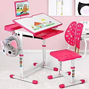 BackH Kids Desk and Chair Set, Height Adjustable Children Study Desk for School or Home, Tilt Desktop, Ergonomic Chair Back, Eye and Spine Protect, with Bookstand, Pull Out Drawers Storage, Pink