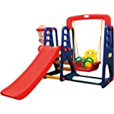 Rainbowtoy 3 in 1 swing and slide With Basketball Set Multi Color For Kids Activities rbw16358t Best Toy swing.