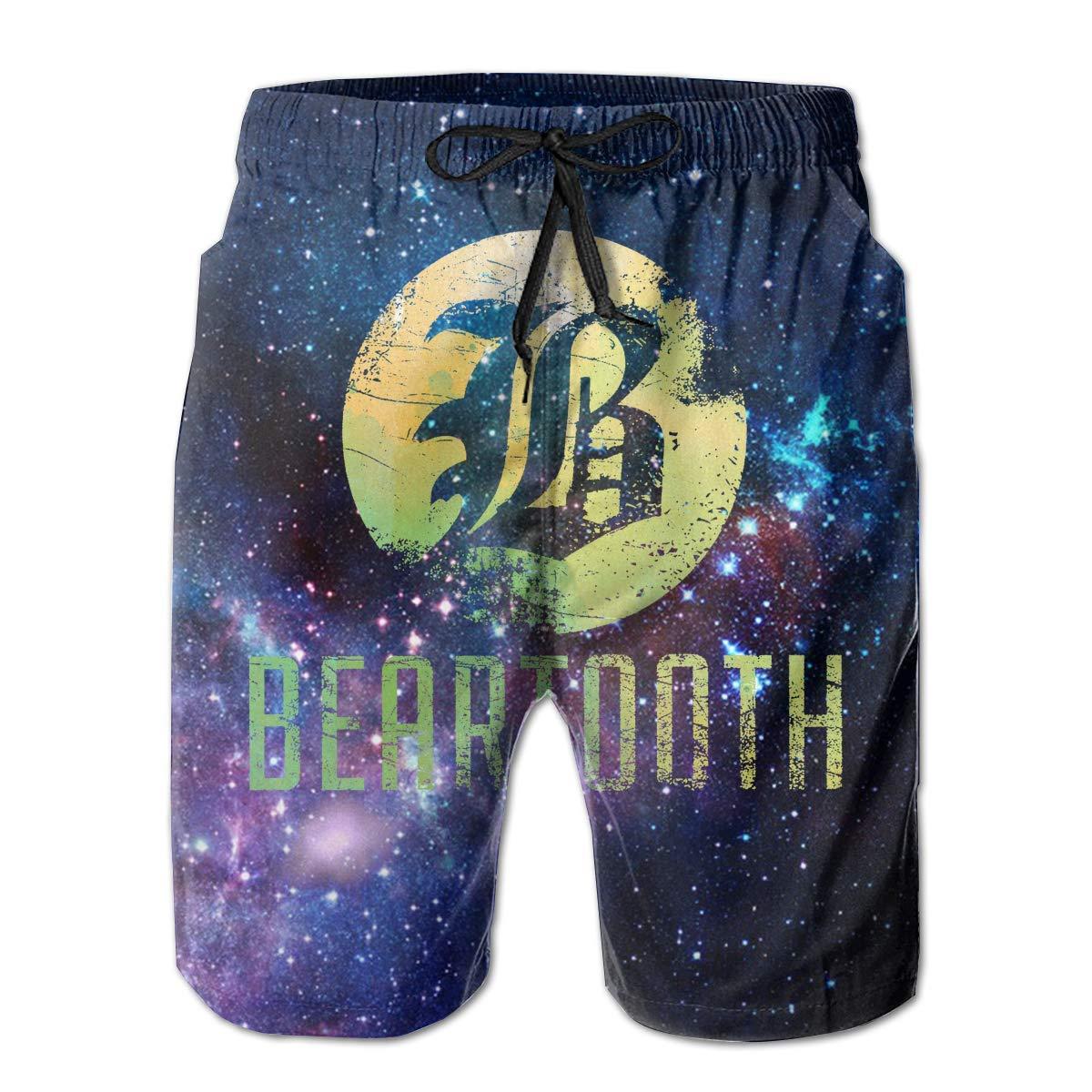 DDYJ Men Beartooth Music Band Fashion Beach Board Shorts Breathable Drawstring Boardshort