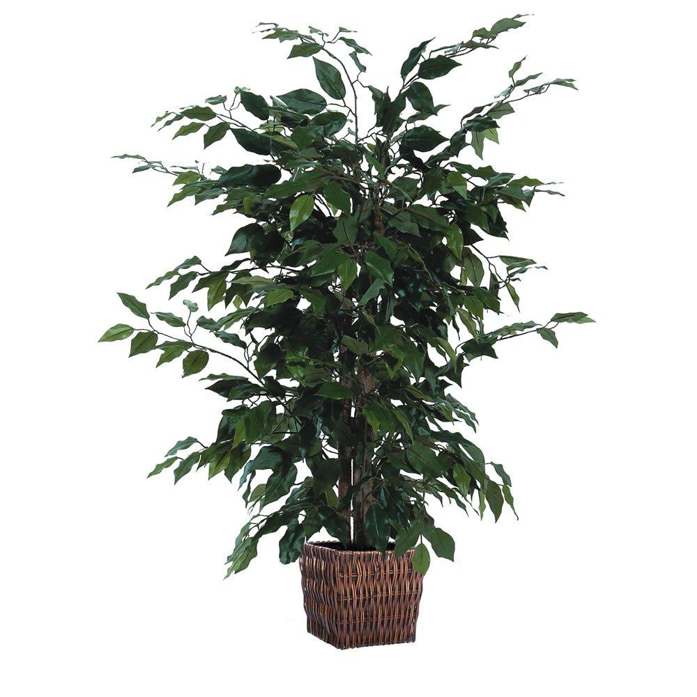 Arbusto Artificial de ficus Natural con Hojas de Color Verde Oscuro en Cesta de Mimbre Decorativa