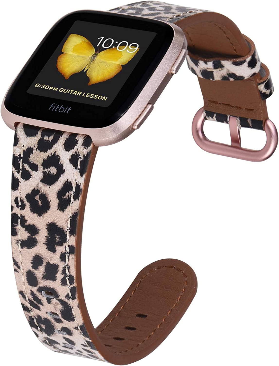 JSGJMY Compatible with Fitbit Versa/Versa 2 /Versa Lite/Versa SE Bands Women Genuine Leather Replacement Strap for Versa Fitness Smart Watch (Leopard+Rose Gold Buckle,Small Size)