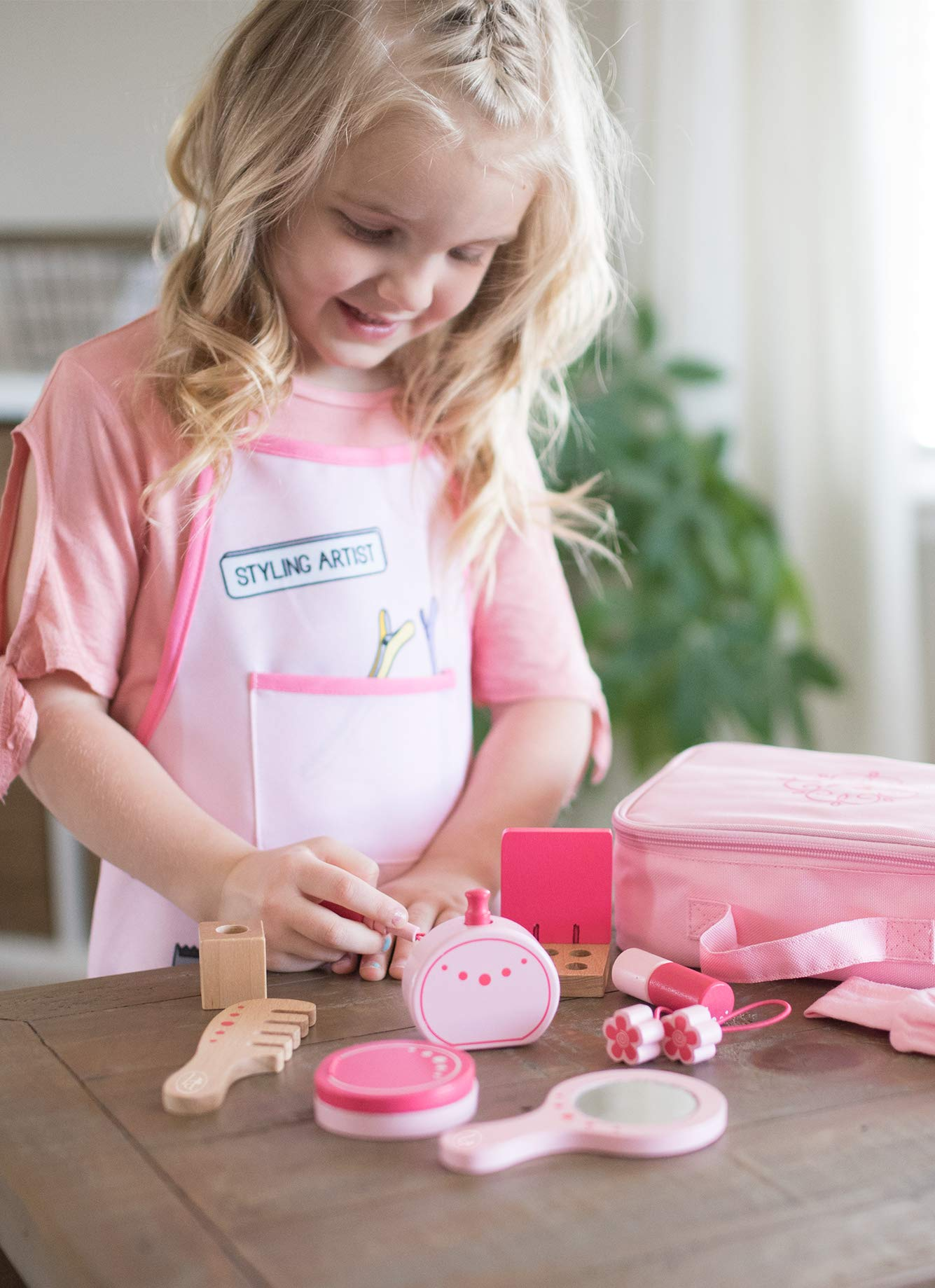 Little Adventures Little Beauty Salon Beautician Wooden Toy Set with Carrying Case Pink by Little Adventures (Image #2)
