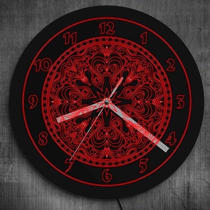 Reloj de pared rojo neón mandala led