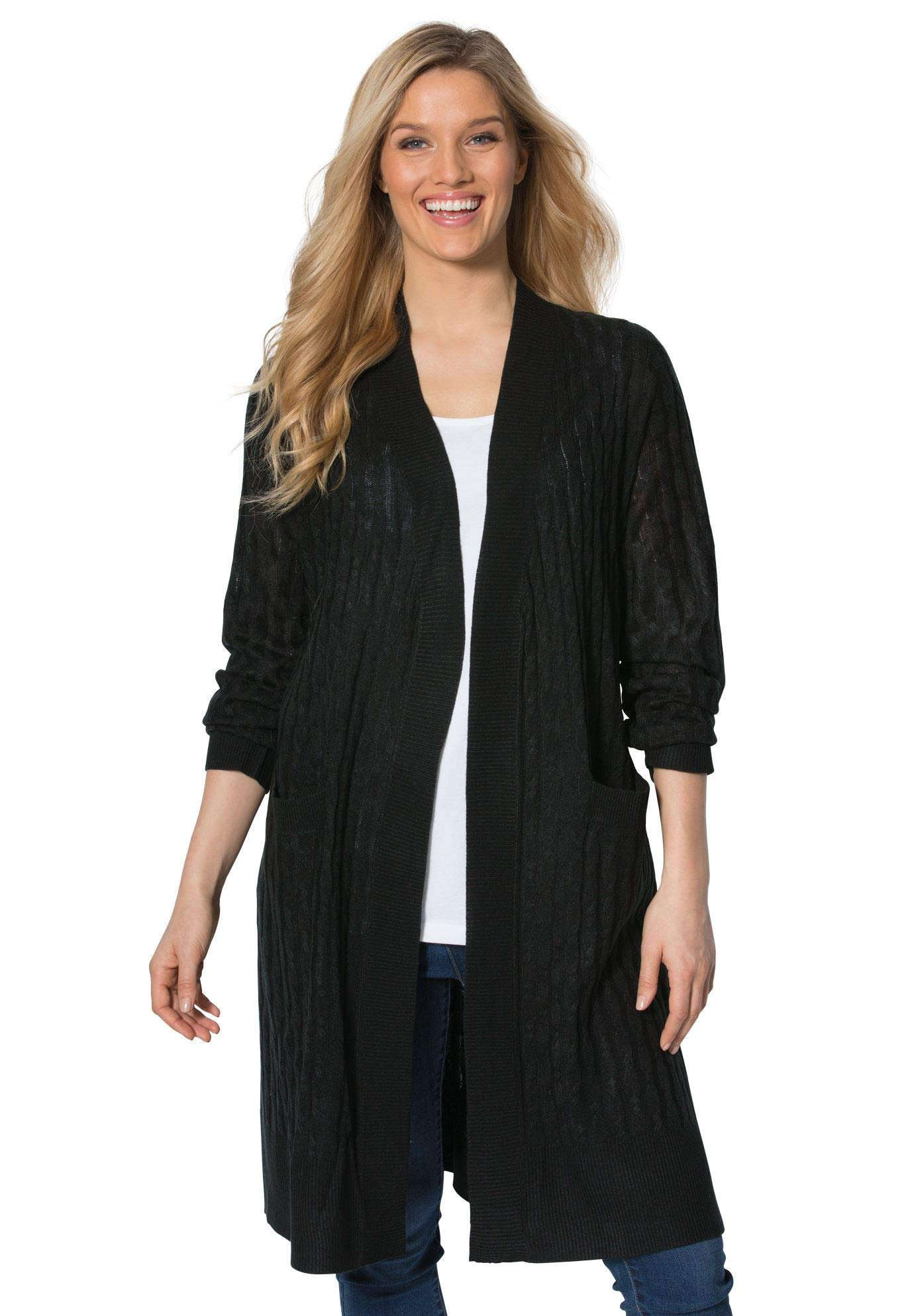 Woman Within Women's Plus Size Lightweight Cabled Duster Cardigan