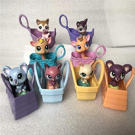 8Pack Pet Shop Juguetes LPS Raras de pie Forma máscara de Gato de Pelo Corto (Elegir su Gato) para niños Regalo 8PCS/Se