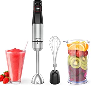 TSYMO Smart Stepless Speed Immersion Blender, 3-in-1 Hand Blender Stainless Steel Stick, 800ml Mixing Beaker, Egg Whisk Attachment for Smoothies, Puree Baby Food, Sauce and Soup, BPA-Free