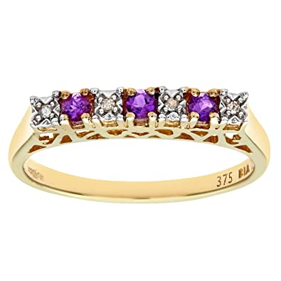 Naava Women's 9 ct Yellow Gold Claw Set Diamond and Amethyst Eternity Ring 55ZNY9oGG0