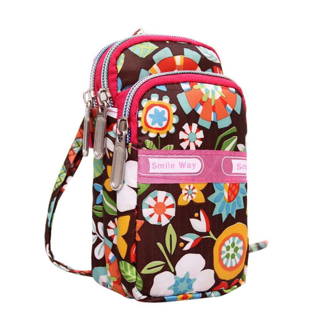 Hot Women Colorful Pattern Printing Zipper Sport Mini Wrist Purse Bag