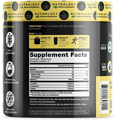 BCAA Natural Lemonade – Non-GMO – Plant Sourced Amino Acid Drink