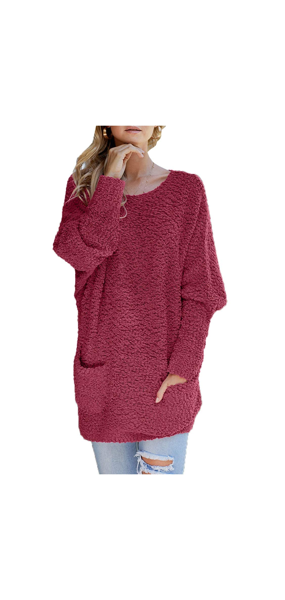 Womens Casual Fuzzy Batwing Long Sleeve Crew Neck