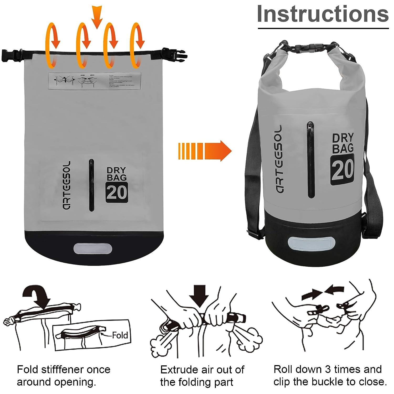 Boot- 5L//10L //20L //30L Wasserdichte Packsack//Trockentasche Geeignet f/ür Kajak- ARTEESOL Dry Bag Kanufahren//Angeln//Rafting//Schwimmen//Camping//Snowboarden Verstellbarer Schultergurt Inklusive