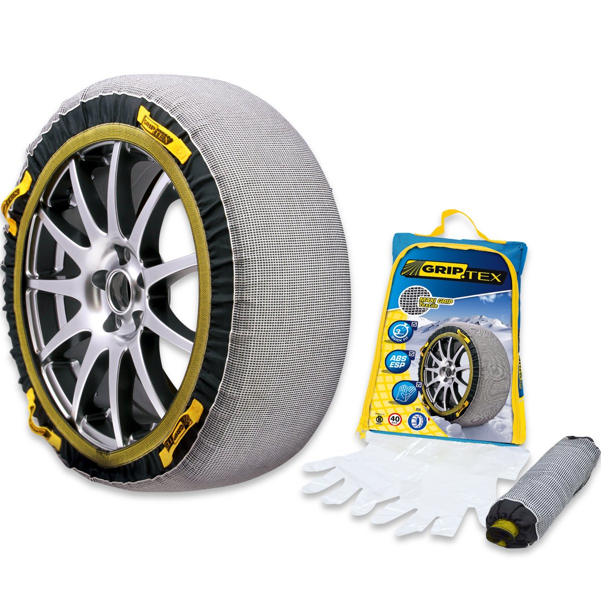 スノーグリップ テックス (SNOW GRIP TEX) 布製 タイヤチェーン 簡単取り付け 雪道 滑り止め 作業用手袋付 (TX-0) B0796R4W3W TX-0 TX-0