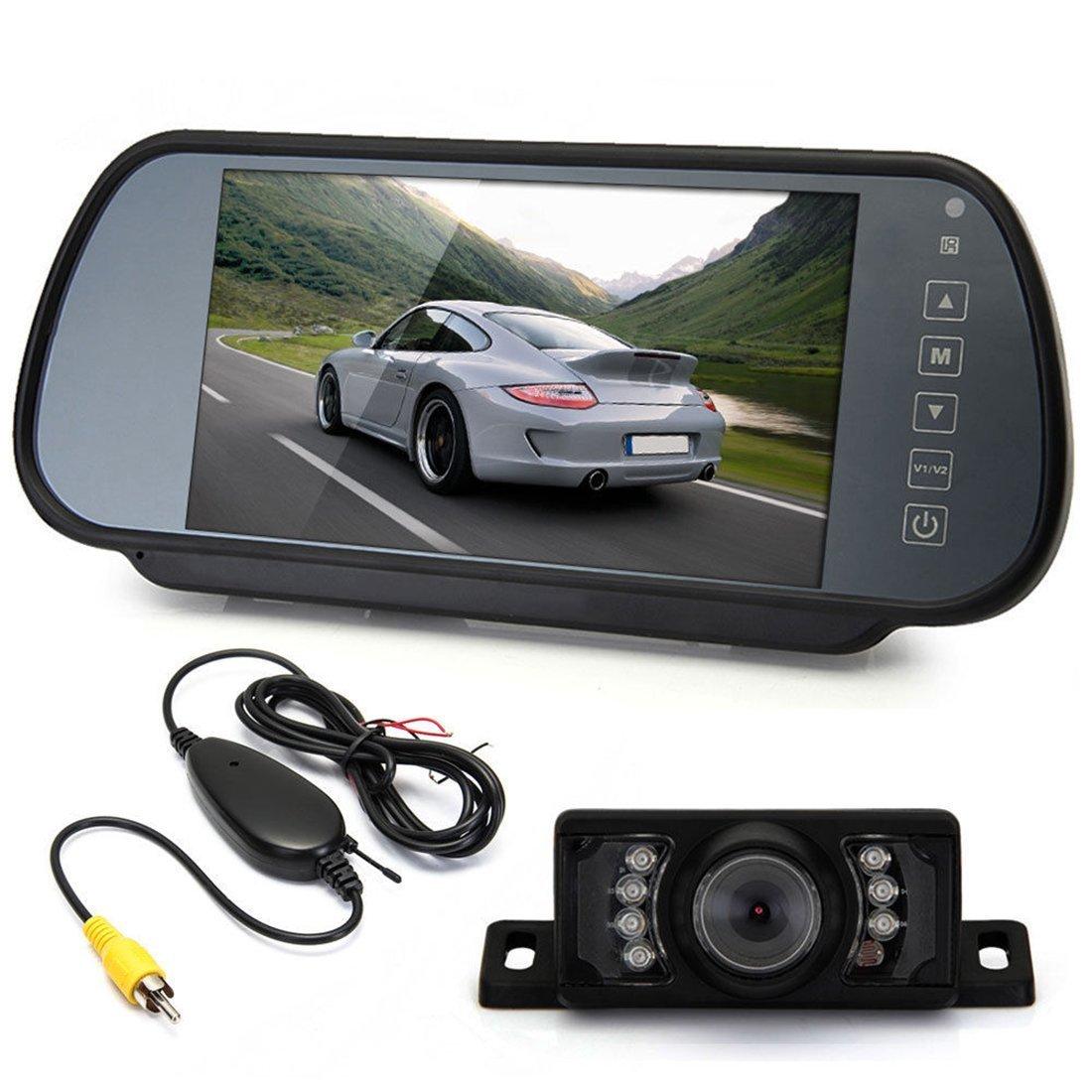 Luwu-Store 7 TFT LCD Monitor de copia de seguridad de coche + transmisor + 7 LED cámara de visión trasera amplia protector de aparcamiento de visión ...