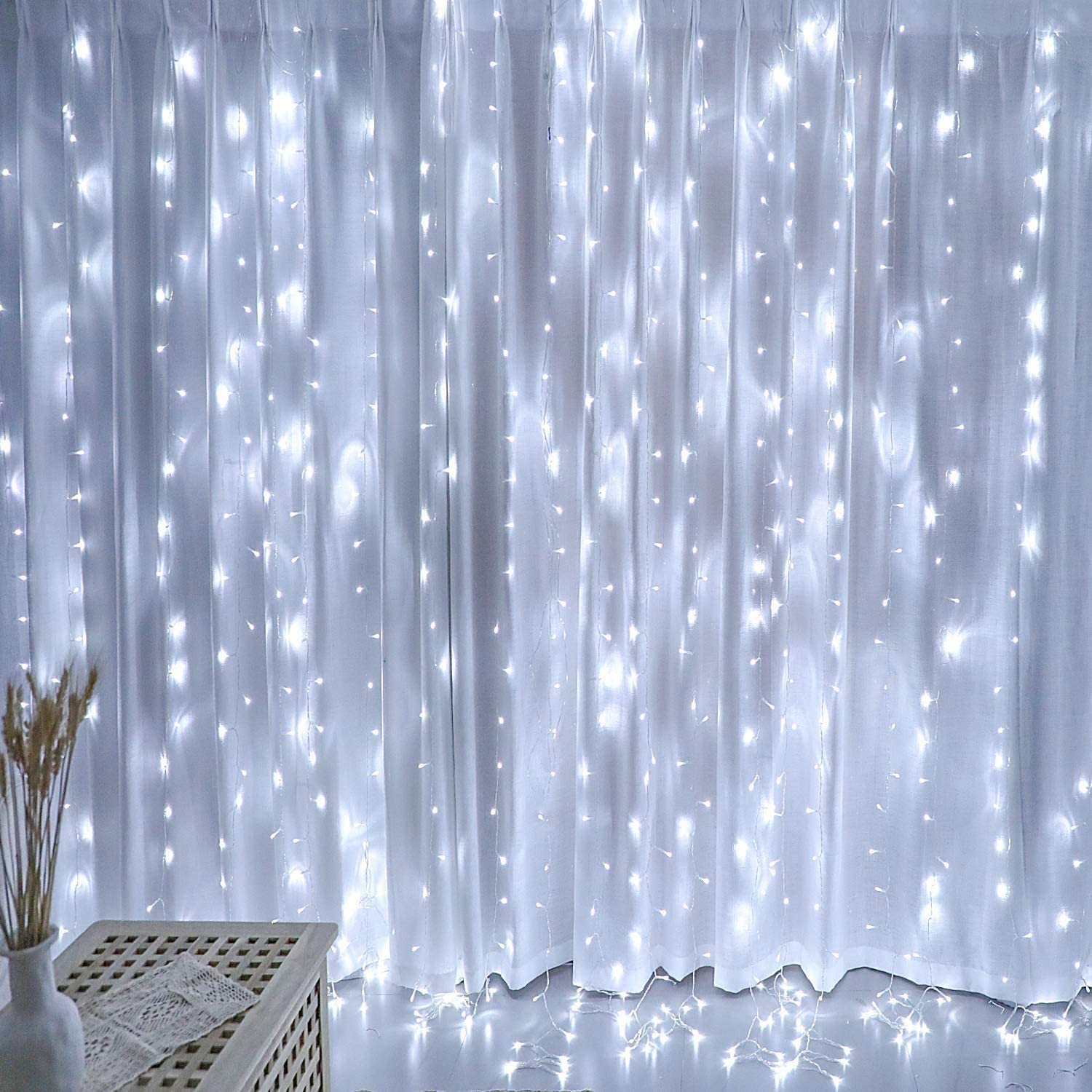 White Curtain Lights, Twinkle Lights for Bedroom, Decorations for Teen Girls, Garden Decor Lights, Romantic Wedding Decor Lights,Fairy String Lights Indoor, Party Birthday Christmas Decorations