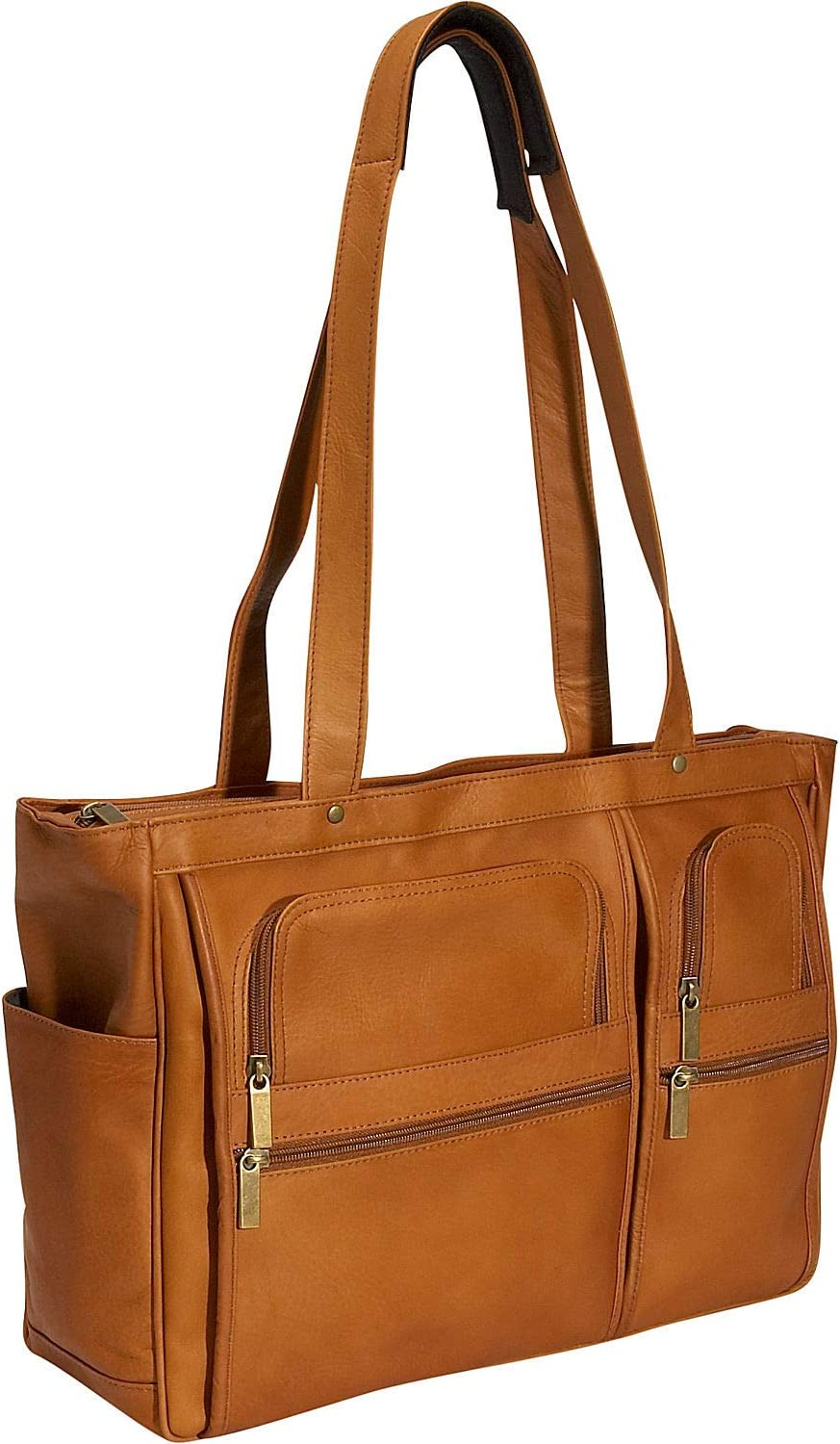 David King Leather Womens Multi Pocket Briefcase in Cafe