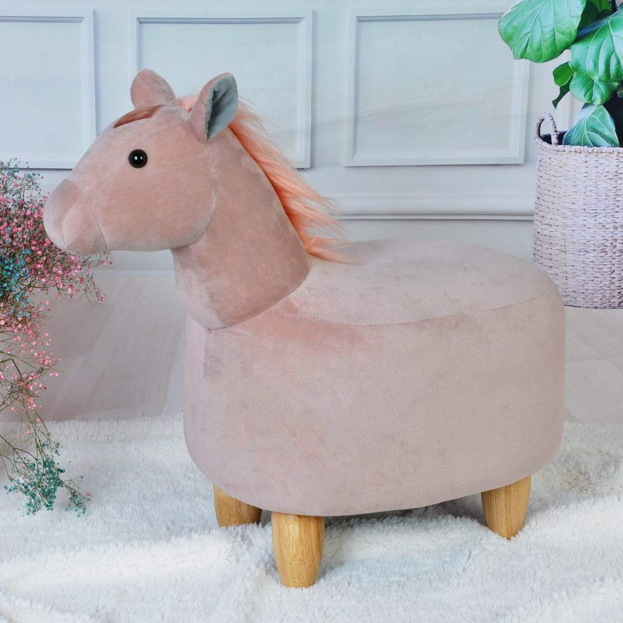 Gift for Children and Adults Soft Plush Ride on Seat JOYBASE Washable Animal Ottoman Kids Footrest Stool Bear