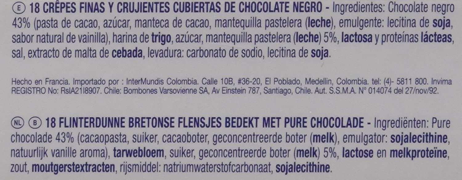 Gavottes - Crpe Chocolate Negro, 90 g - , Pack de 6: Amazon ...
