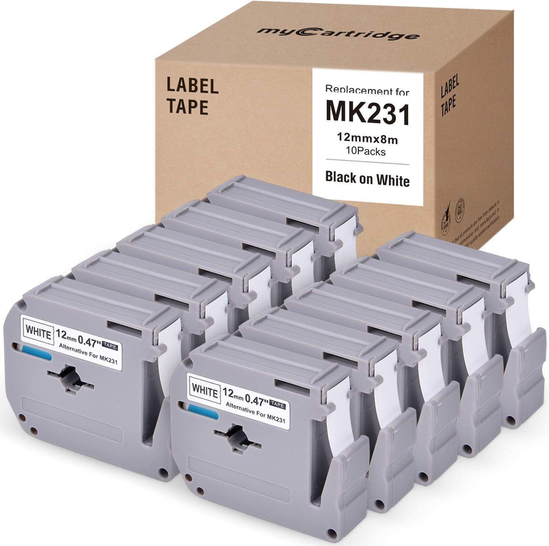 myCartridge 10 Pack Compatible with Brother M Tapes M-K231 MK231 MK-231 Mk 231 P-Touch Label Tape 12mm × 8M, for PT-M95, Pt-70BM, Pt-90, Pt-65, Pt-70, Pt-70Sr, Pt-85 Label Maker, Black On White