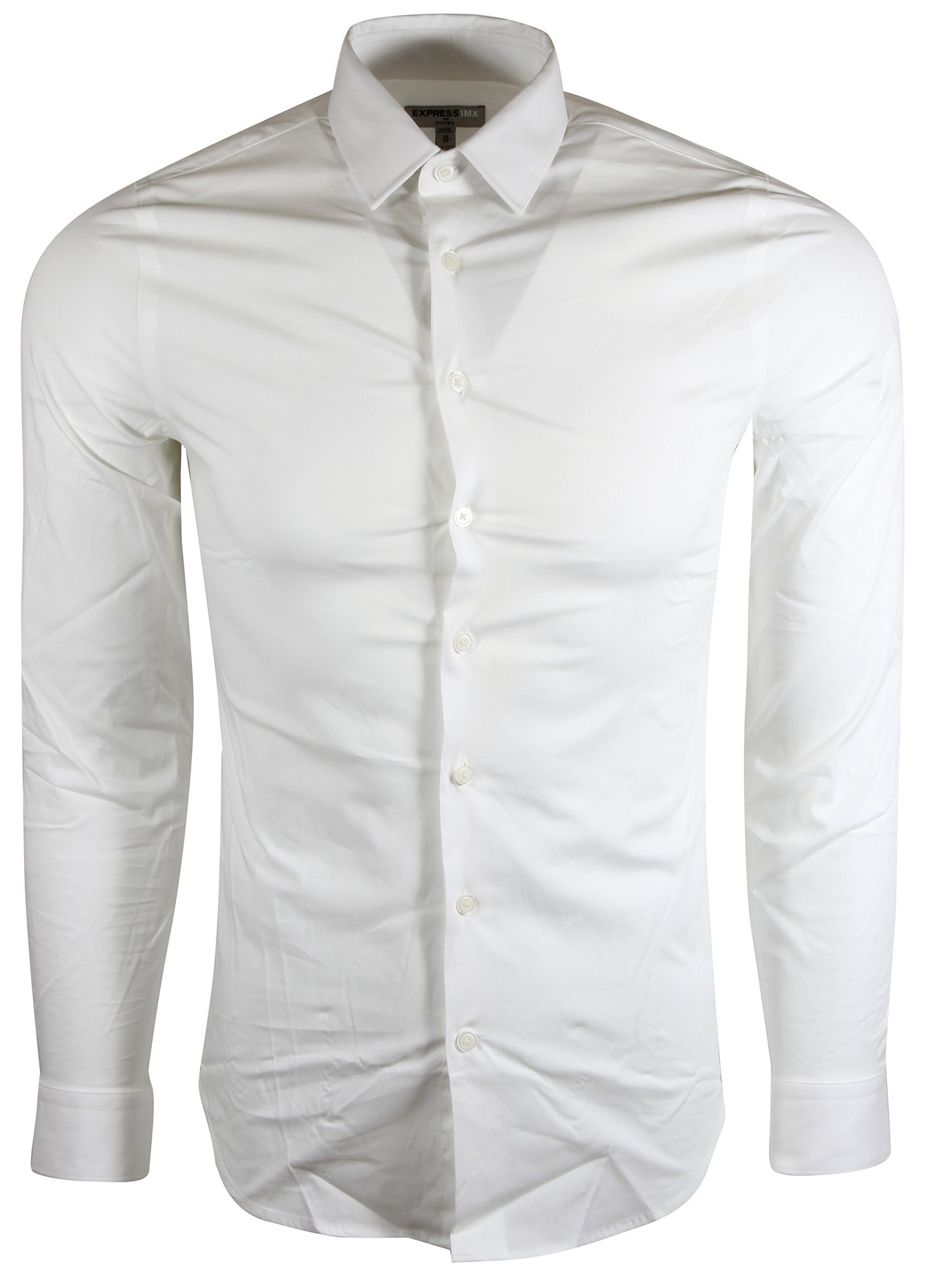 18c6f32bc11 EXPRESS 1MX White Long Sleeve Button Down Shirt (Fitted .