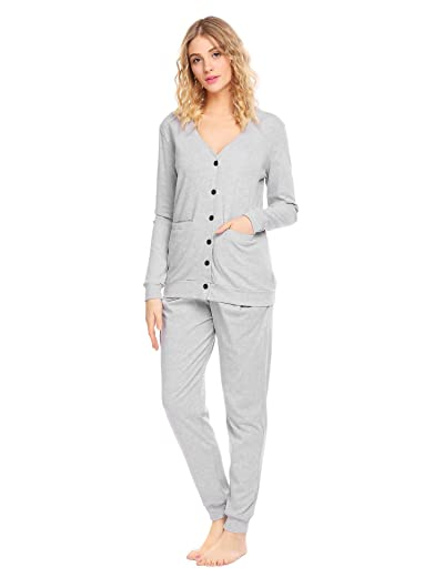 Ekouaer Women's Long Sleeve Sleepwear Soft Cotton Pajama Set
