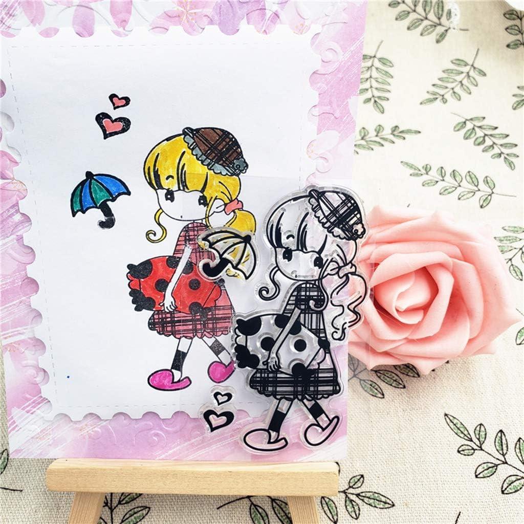 Xiangrun Clear Stamps,Petite Fille De Tampons Transparents Silicone Scrapbooking pour Bricolage Album Carte Craft D/écoration Scrapbooking Mat/ériel