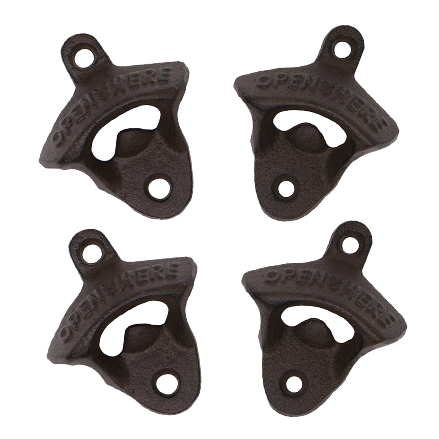 Wall Mounted Bottle Opener Rustic Farmhouse Cast Iron with Screws by iGraver - 1 pack (Rust-1 pack)