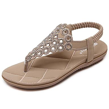 Minetom Damen Mädchen Sommer Böhmen Flach Sandalen Strand Schuhe mit Strass Löcher Peep Toe Flip Flops Schwarz EU 41 YvAGx3U8M6