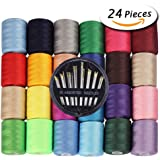 Paxcoo 24 Assorted Color Polyester Sewing Thread spools 1000 Yards Each with 30 Assorted Sewing Needles