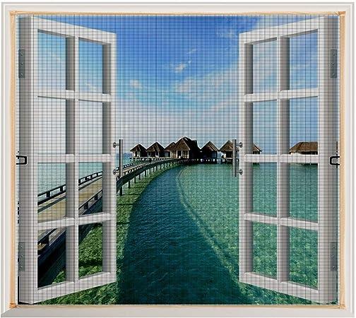 Copechilla Mosquitera ventana 1.2m x 1.3m gris,con correa adhesivo,fácil instala y puede lavar y duradero,para interior,exterior,plástico,madera,aluminio de la ventana: Amazon.es: Bricolaje y herramientas