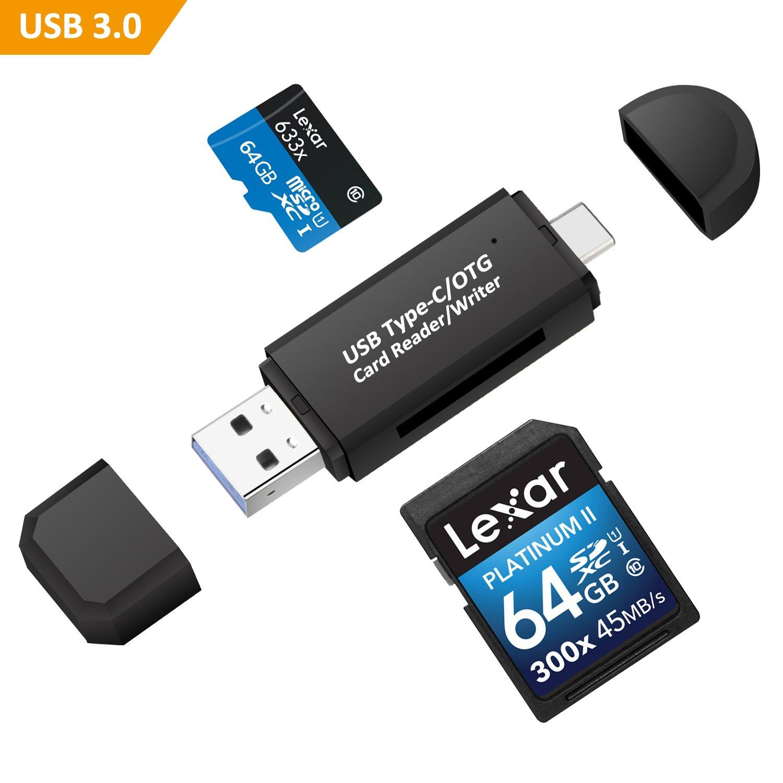 Philonext Lettore di schede di memoria USB 3.0 tipo C SD/Micro SD OTG per SDXC, SDHC, SD, MMC, RS-MMC, Micro SDXC, Micro SD, Micro SDHC PhilonextOfficial card reader