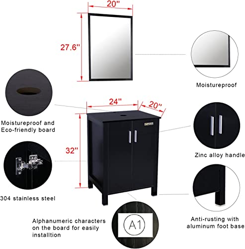 Eclife 24 inch Big Storage Bathroom Vanity Combo Modern MDF Cabinet with Vanity Mirror Tempered Glass Counter Top Vessel Sink with 1.5 GPM Faucet and Pop Up Drain A10B04