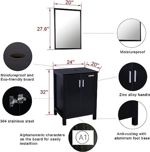Eclife 24 inch Big Storage Bathroom Vanity Combo Modern MDF Cabinet
