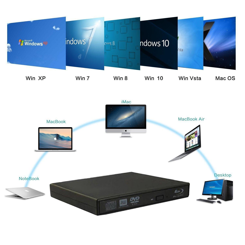 VikTck External Blu Ray DVD Player Drive,USB 2.0 Disc Burner Reader Slim BD CD DVD RW ROM Writer for PC Mac Windows 7 8 10 XP Linxus by VikTck (Image #3)